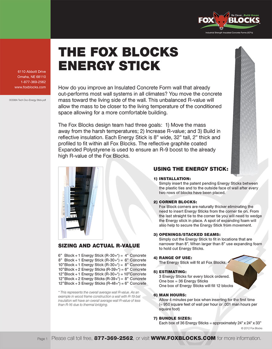 Energy stick fox blocks ny seaway wall distributing new for Fox blocks house plans